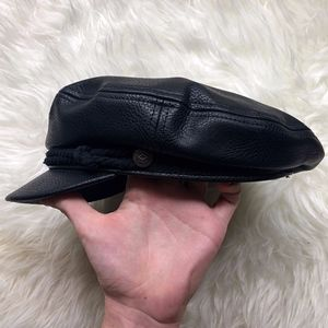 Brixton Black Vegan Leather Fiddler Cap - Size M